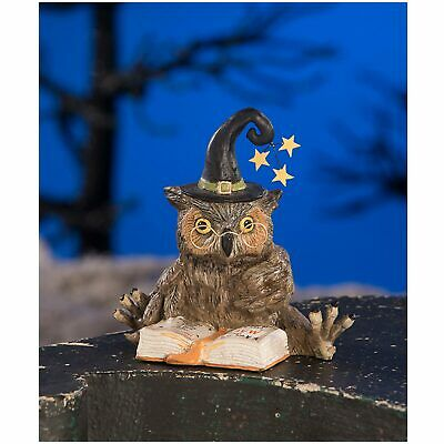 "Bethany Lowe 4"" Old Wizard Owl Witch Figurine Halloween Retro Vntg Style Decor"