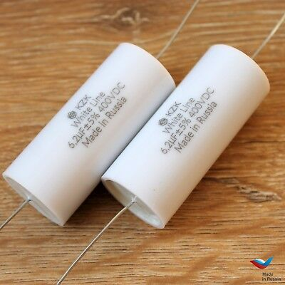 Kzk White Line 2pc 6.2uf 400v 5 Audiophile Grade Capacitor For Diy Speaker Kits