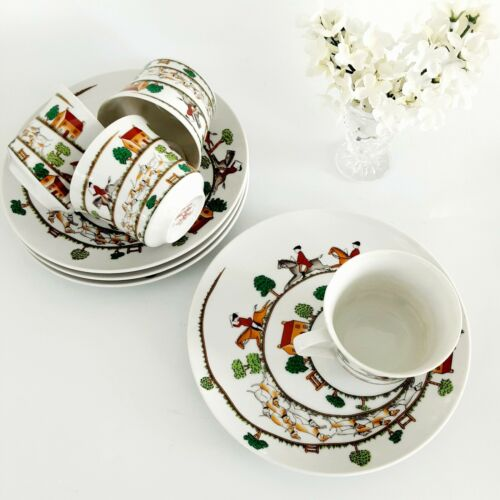 Vintage Hunting Scene Snack Plate And Cup Set Of 4 Taste Seller By Sigma # 427