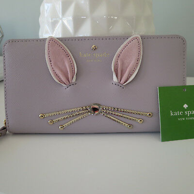 KATE SPADE MAKE MAGIC BUNNY RABBIT WHISKERS FLUFFY WHITE TAIL LACEY ZIP WALLET](Rabbit Whiskers)