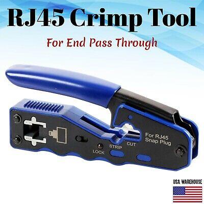 RJ45 Crimp Tool for End Pass Through Cutter Cat6 Cat5 Cat5e 8P8C Plugs Connector