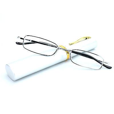 Reading Glasses Compact Ultra Slim Metal Frame Pocket Clip Tube Case Silver