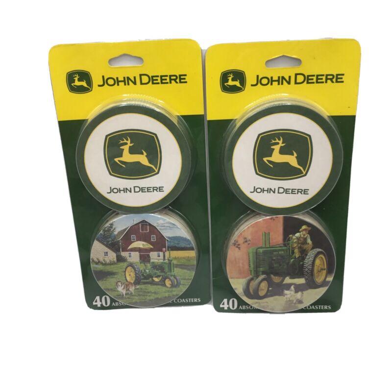 John Deere Farm Tractor Absorbent Beverage Coasters Set of 40 NEW. 2 Packs