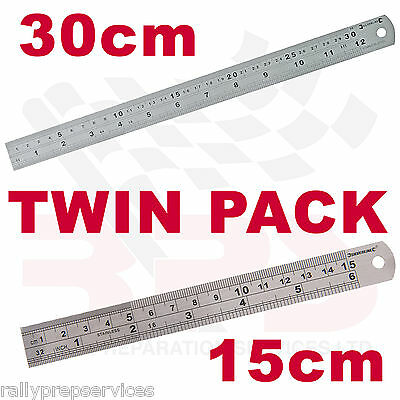TWIN PACK 30CM + 15CM STAINLESS STEEL METRIC & IMPERIAL METAL RULER ENGINEERING
