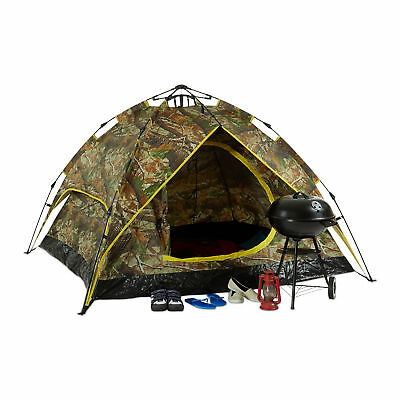 Campingzelt 3-Mann Kuppelzelt Tunnelzelt 200x150cm Outdoor Tarnoptik Wanderzelt