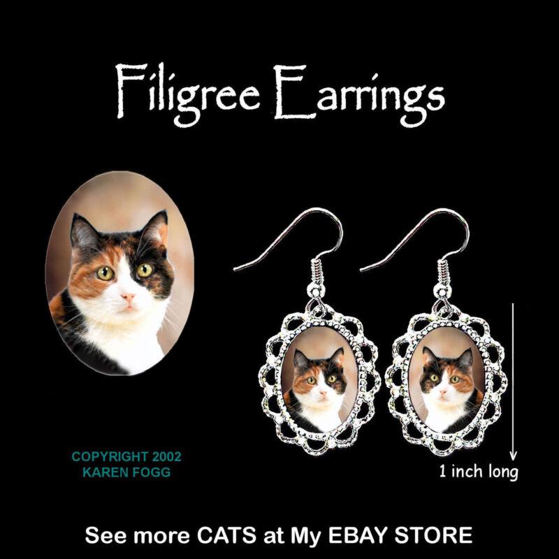 CALICO SHORTHAIR CAT - SILVER FILIGREE EARRINGS Jewelry