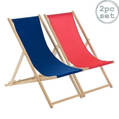 Wooden Deck Chair Folding Garden Beach Seaside Deckchair Pink Navy Set of 2