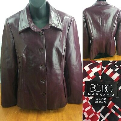 BCBG MAXAZRIA Leather Jacket Bomber Maroon Fits a M ~FREE SHIPPING!!!