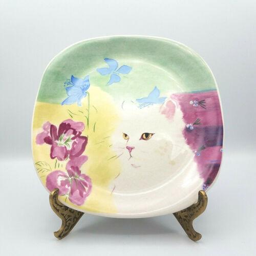 Vtg Cat Plate Minou-ettes Collection Coeur Cat White Persian Gold Eyes Quadro