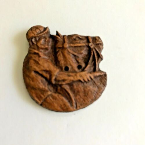 VINTAGE WOOD BUTTON BURWOOD, JOCKEY SEW THRU NBS SIZE LARGE,OLD COLLECTION