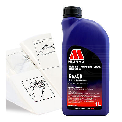 Engine Oil Top Up 1 LITRE Millers Trident Pro 5W-40 1L +Gloves,Wipes,Funnel