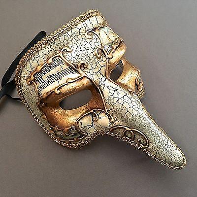 Halloween Capitano Carnivale Antique White Gold  Zanni Nose Masquerade - Antique Halloween Masks