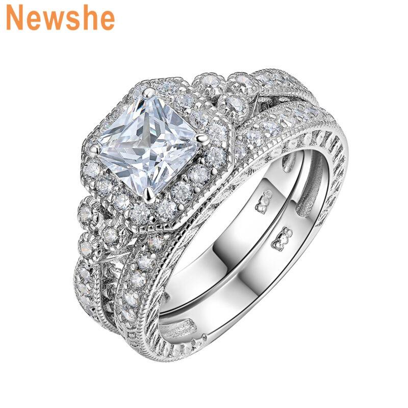 Newshe Wedding Engagement Ring Set 925 Sterling Silver Vintage White Cz Sz 5-12