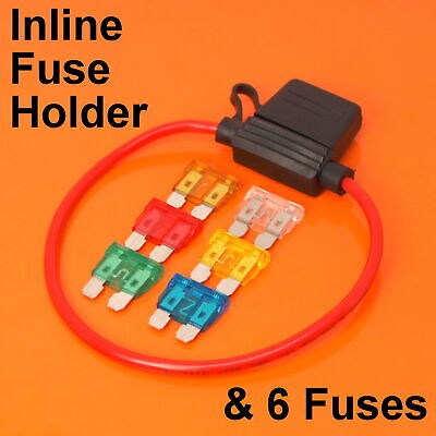Inline Automotive Standard Blade Fuse Holder & 6 Fuses 5A 10A 15A 20A 25A 30A