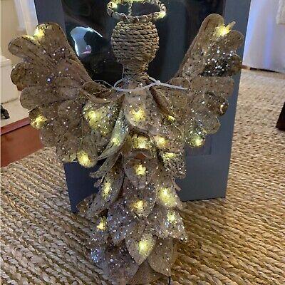 NIB Pottery Barn ~LIT BIRCH ANGEL~ Christmas TREE TOPPER ~RUSTIC WINTER~ Lodge