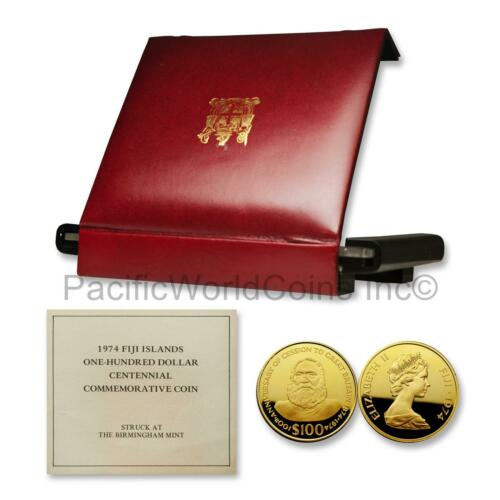 Fiji 1974 Cession to Great Britain $100 Gold Proof with Box & COA SKU# 7525