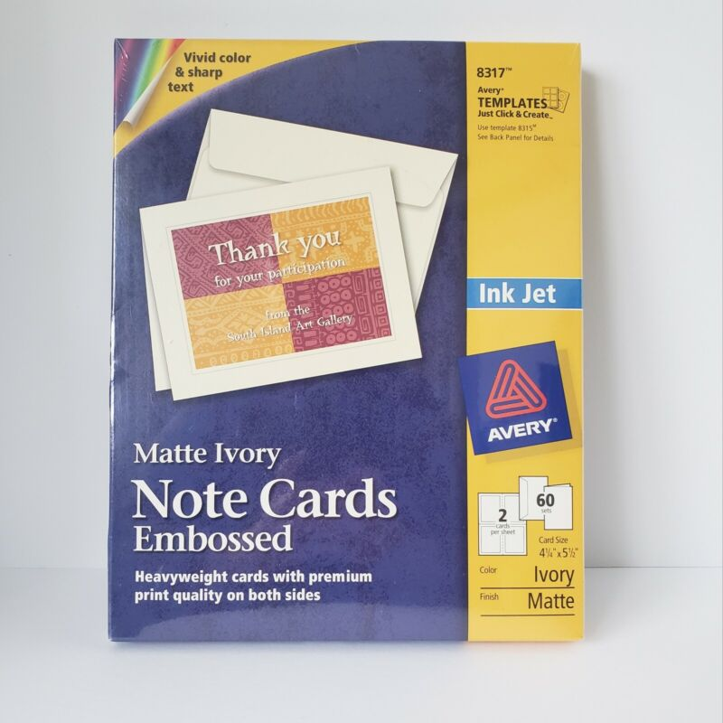 "Avery Ink Jet Note Cards Embossed Matte Ivory 4 1/4"" X 5 1/2"" 60 Sets #8317 F"