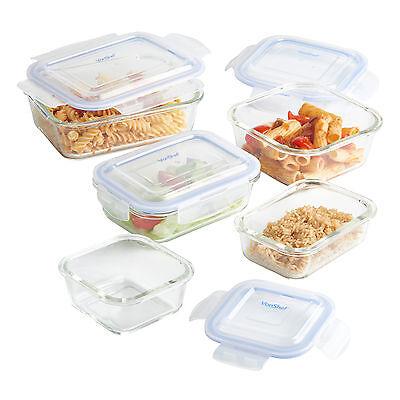 VonShef 5 Piece Glass Container Food Storage Set with Lids
