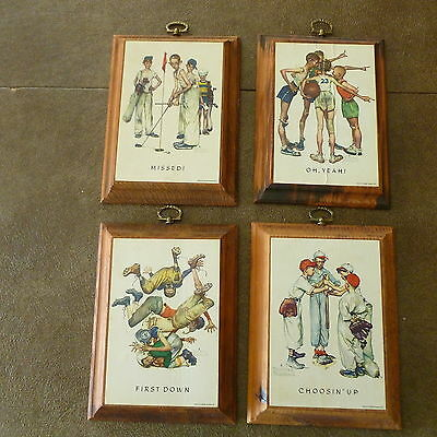 NORMAN ROCKWELL VINTAGE SET OF 4 SPORTS PRINTS ON HANGING WOOD WALL PLAQUE