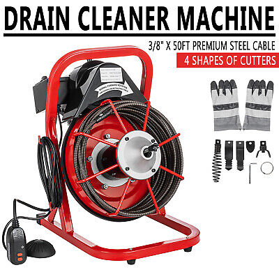 Commercial Drain Cleaner 50ft X 38 Sewer Snake Drain Auger Cleaning W Cutter