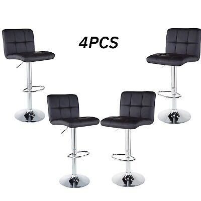 - Set of 4 Bar Stools Counter PU Leather Adjustable Swivel Pub Dinning Chair Black