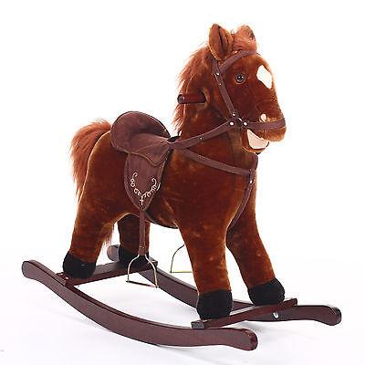 A caballo balancín de madera y Peluche Marrón Aprendizaje Juguete niño Bebé