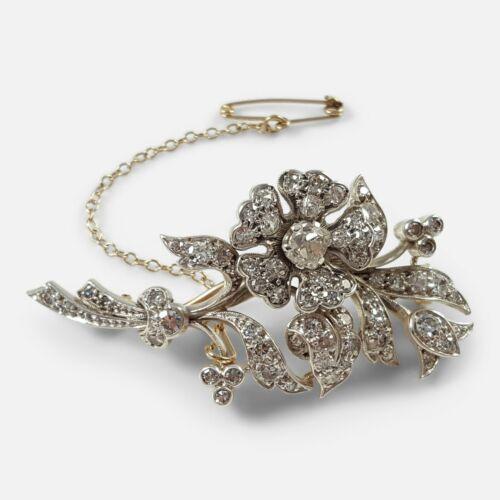 Early 20th Century Diamond Floral Brooch, circa 1900s