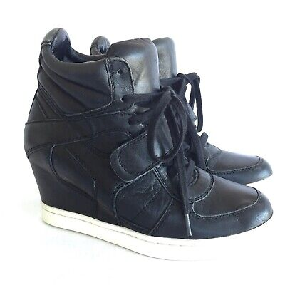 Ash Cool Ter Limited Wedge Sneaker 9 39 Hidden Heel Black Leather Cream Soles