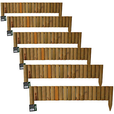 6x Log Roll Picket Fence Panel Edge 1M x 30cm Border Garden Outdoor Lawn Edging