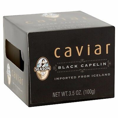 Season Black Capelin Caviar From Iceland, 3.5 oz Exp. 09/2018 FREE SHIPPING!