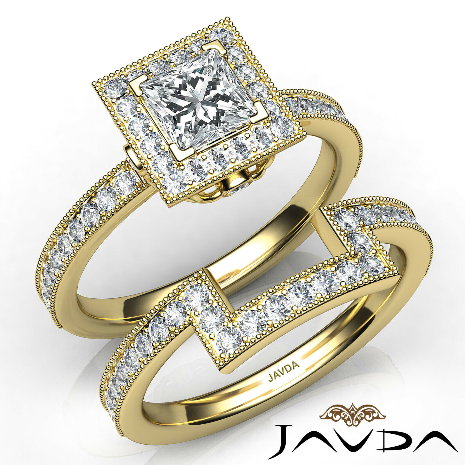 1.9ct Milgrain Edge Bridal Set Princess Diamond Engagement Ring GIA F-VS2 W Gold 8
