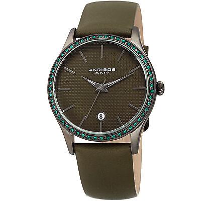 Women's Akribos XXIV AK964GN Gunmetal Round Case Olive Green Leather Strap Watch