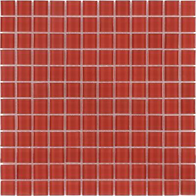 Modern Uniform Squares Red Glass Mosaic Tile Backsplash Kitchen Wall MTO0360
