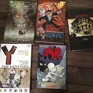 Graphic novels Bone , gun-Fu, Kashmir Pending, Batman, Vertigo