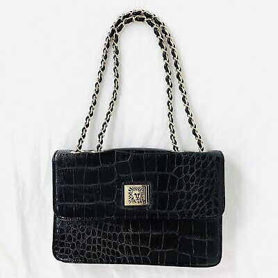 Anne Klein Black Faux Crocodile Handbag Clutch Envelope Purse Adj Chain Strap