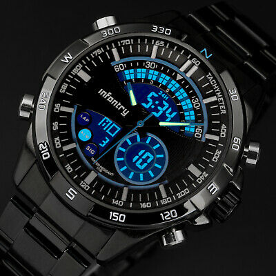 INFANTRY Mens LED Digital Quartz Wrist Watch Chronograph Aviator Stainless Steel