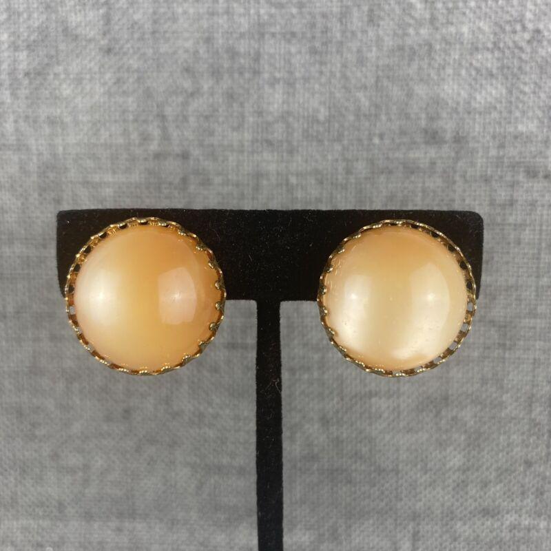Vintage Tan Cats Eye Clip On Earrings