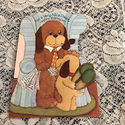 Vintage Greeting Card Birthday Daddy Cute Dog Pipe