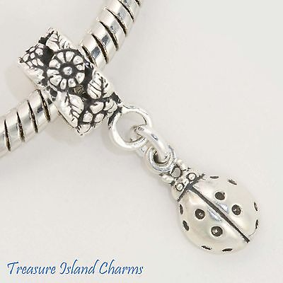 LADYBUG and FLOWERS .925 Sterling Silver EUROPEAN EURO Dangle Bead Charm