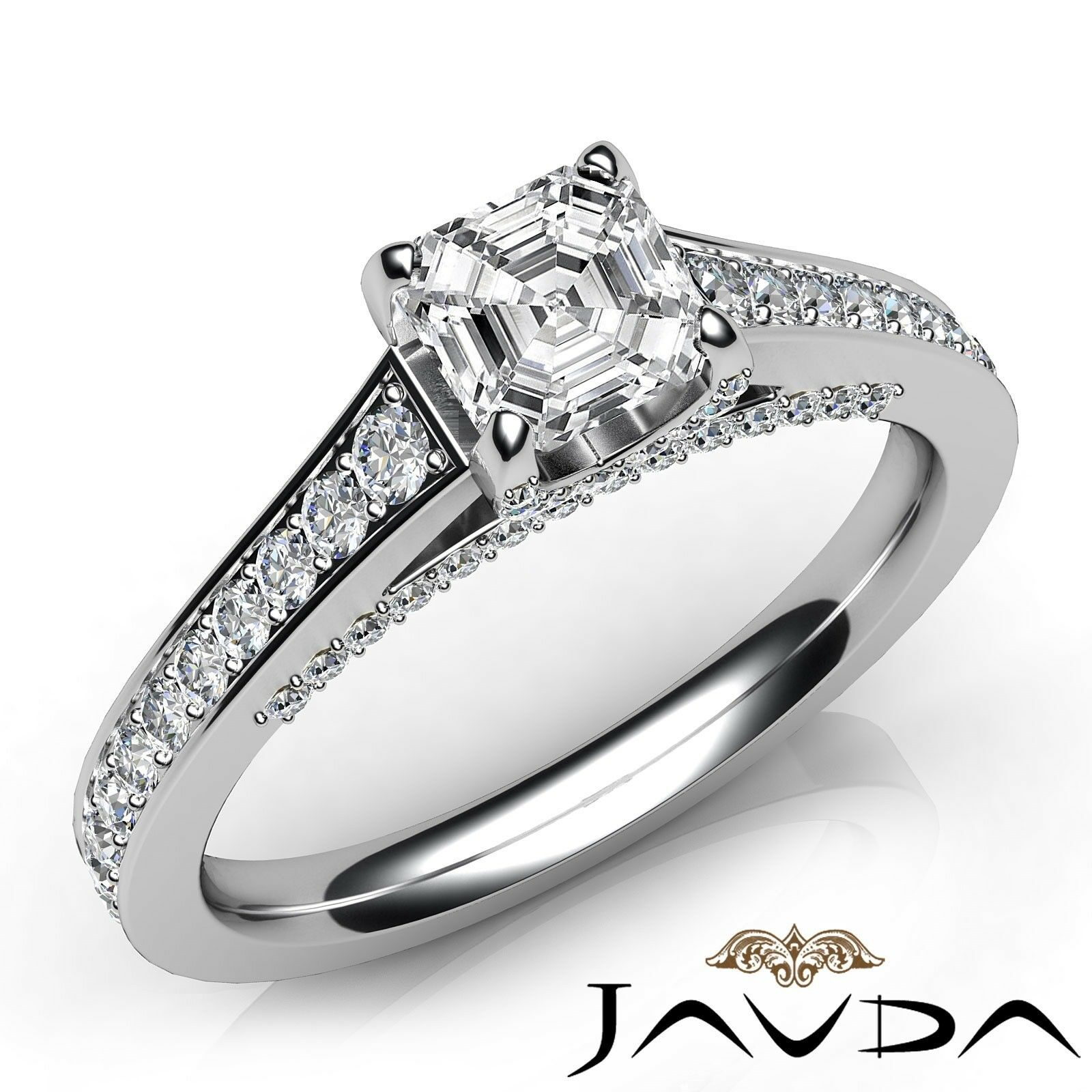 1.89ctw Tapered Pave Asscher Diamond Engagement Ring GIA G-IF White Gold Rings