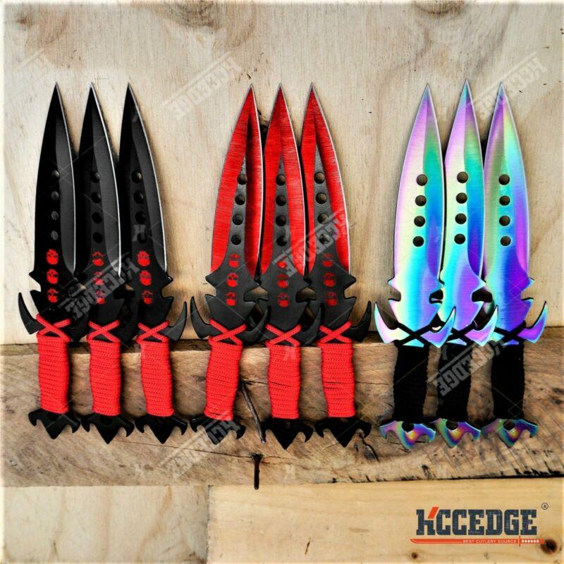 "3 COLOR 3PC 7.25"" TACTICAL RESCUE  Knife SET NINJA KUNAI Hunting +Sheath"