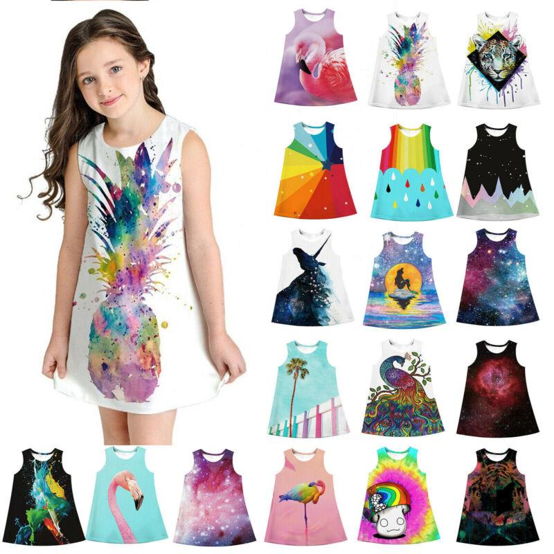 Kinder Mädchen Kleider 3D Druck Shirtkleid Tunika Sommerkleid Kleidung 6-13Jahre