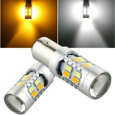 2x 1157 Dual Color 5730-SMD LED Turn Signal Amber & White Switchback Light Bulbs