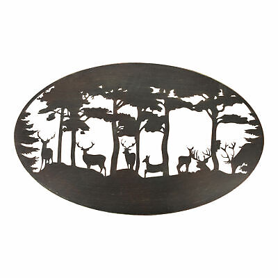 'Esschert Design Oval Stag Wall Art - Steel - 89.8 x 55.4 x 1.5 cm
