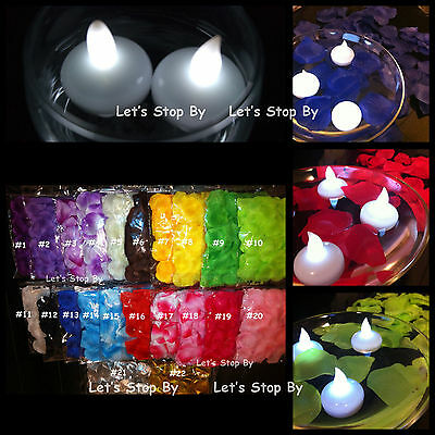 12 LED Floating Candle + 500 Silk Rose Petals Wedding Decoration Flower - Event Decoration Supplies