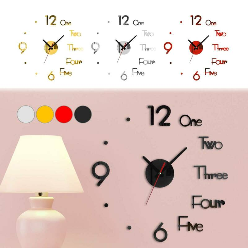 Home Decoration - 3D Modern DIY Large Number Mirror Wall Sticker Big Watch Home Decor Art Clock US