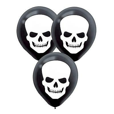 HALLOWEEN HORROR SKULL BALLOONS SKELETON HEAD BLACK & WHITE PARTY DECORATIONS 20 - White Balloons Halloween