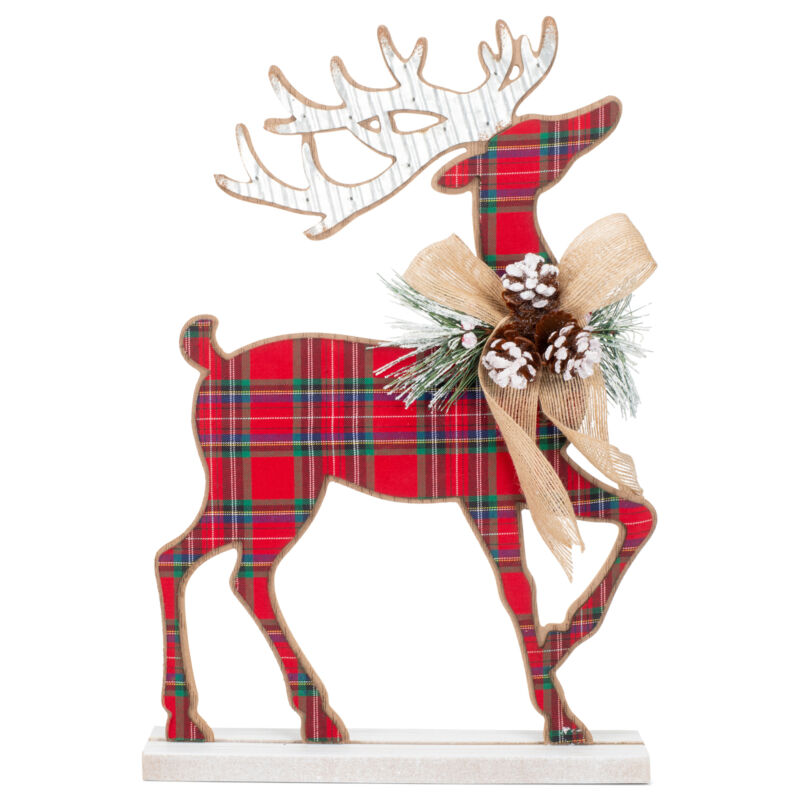 Tartan Plaid Standing Deer Holiday Red and Green MFD Wood and Tin Figurine