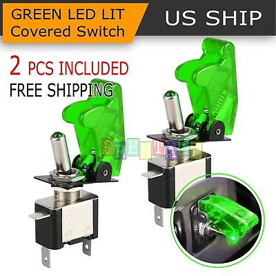 2PCS Green Cover LED Toggle Switch Racing SPST ON/OFF 20A ATV 12V for Car - Green Racing Car