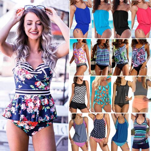 Damen Badeanzug Push-up Tankini Set Strand Bademode Oberteil Tops Shorts Hose